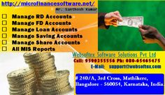 Websoftex Software Solution Pvt Ltd, a Bangalore based company, extending its services in loan software, co-operative banking software.. Consists of Surety Loan (Unsecured), Crop Loan, Vehicle Loan, Gold Loan, Loan against deposit (like, FD, RICC / CC) Loan Ledgers & various types of reports.  For more detail log on to: http://microfinancesoftware.net/