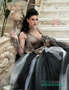 Gorgeous Vintage-Goth Wedding Dress from WeddingDressFantasy.  This incredible dress is absolutely amazing. Bodice is made with Black Swiss