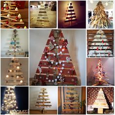 Pallet Christmas Trees #Christmas, #Pallet, #Tree
