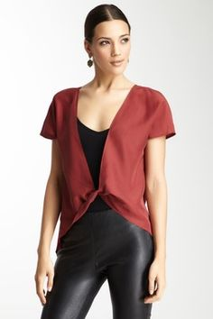 Silk Twisted Front Blouse // Black Leather Pants