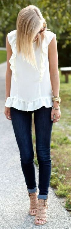 White peplum top.