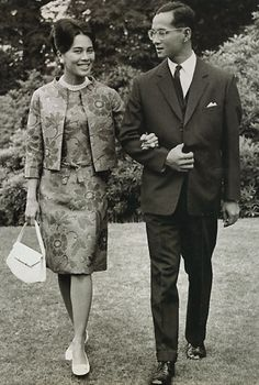 King Bhumibol and Queen Sirikit of Thailand at King's Beeches, their private residence in Sunninghill, Berkshire, England, United Kingdom, 1966, photograph by Roger Jackson.
