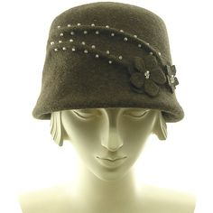 Brown Felt Bucket Hat for Women - 1920s 1930s Fashion - Cloche Hat -... ($245) ❤ liked on Polyvore