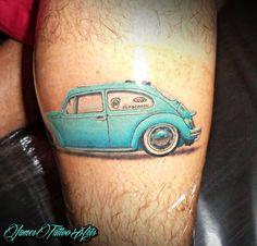 Tatoo Azul!!! Vw Tattoo, Beetle Tattoo, Car Tattoos, Whale Tattoos, Beetle Bug, Vw Beetles, Ink Addiction, New Skin, Color Tattoo