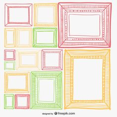 Colorful retro frames set