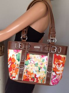 Bag Purse Chaps Floral Designer Fashion Soring Summer Stylish Chic Leather Like | eBay