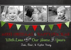 Family Photo Christmas Card Chalkboard by gingercakegraphics  #TEAMPINTEREST