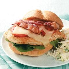 Bacon-Chicken Sandwiches Recipe - I made these with leftover turkey from a smoked turkey breast and they were fabulous. I also used a mixture of arugula and spinach.