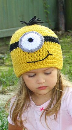 Purple Bad Minion and Good Minion Crochet Hat Despicable Me 2 movie, Newborn, 3-6 m, 6-12m, 1-2T, 2t and up, and Adult, Halloween costume
