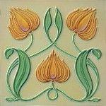 Ceramic Trivet - Vintage Art Nouveau Tile