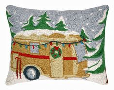 "Vintage Christmas Camper Trailer - 14"" x 18"" Wool Hooked Pillow"
