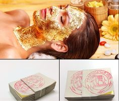 100PCS Gold Foil Mask Sheets Spa 24K Gold Face Mask Sheet Thailand Beauty Salon Equipment Anti-Wrinkle Lift FaceBeauty Care