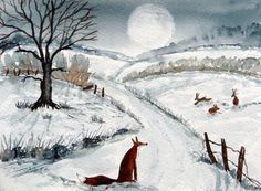 Original Watercolour Painting - ANIMALS: FOX WATCHING THE HARES IN THE MEADOW | eBay