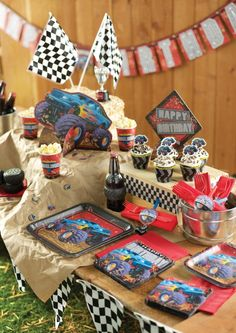 Awesome Monster Truck party idea!!!  Mudslinger is the name of the party pattern.