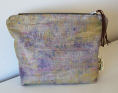Hand dyed Linen Makeup Bag/ Purse Purple/ by EmmaJuneDesigns, Leather Tassel, Suede Leather, Bespoke Design, Little Bag, Purple Yellow, Purses And Bags, Coin Purse, June, Perfume
