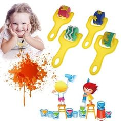 Creative set for kids yellow sponge brushes children kids painting graffiti toys plastic handle drawing brush drawing toys - Kid Shop Global - Kids & Baby Shop Online - baby & kids clothing, toys for baby & kid Sponge Painting, Painting Tools, Painting For Kids, Diy Painting, Sponge Rollers, Brush Drawing, Graffiti Drawing, Baby Shop Online, Stars Craft