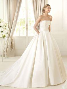 A-line Strapless Cathedral Train White Satin Wedding Dress WS1950
