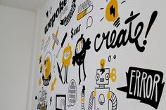 Mural Wepoke San Francisco on Behance Office Wall Design, Office Mural, Office Wall Art, Office Interior Design, Office Walls, Graffiti Wall, Wall Murals, Mural Cafe, Office Wall Graphics