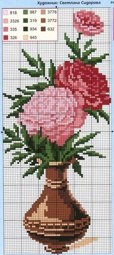 Pink Peonies in Vase Cross Stitch Tree, Cute Cross Stitch, Cross Stitch Flowers, Funny Cross Stitch Patterns, Cross Stitch Charts, Cross Stitch Designs, Cross Stitching, Cross Stitch Embroidery, Embroidery Patterns