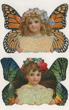 Butterfly girl stickers for Easter crafting, bookplates, labels...