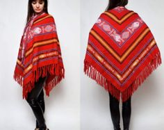 Vintage Mexican Native American Blanket Cape Poncho