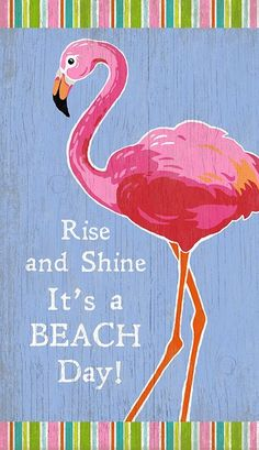 Rise and Shine - It's a Beach Day! What a perfect art piece to add to a light filled beach cottage with it's bright beachy colors and pink flamingo image. This happy art created by Suzanne Nicoll is Flamingo Beach, Flamingo Decor, Pink Flamingos, Flamingo Painting, Bunny Painting, Flamingo Gifts, Beach Cottage Style, Beach House Decor, Cottage Chic