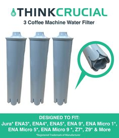 3 Jura Clearyl Blue Water Filters Fit Coffee Machines ENA3 ENA4 ENA5 J6 J9 J95, Part # 67879