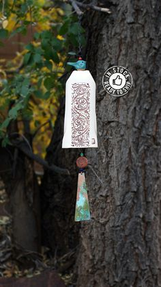 Wind Chimes Fall Decor Xmas Gift for Her Pottery Handmade Garden Bell Copper Wind Chime Bluebird Sculpture Boho Garden Art Boho Garden Decor. This handmade mixed ceramic wind chime garden bell features a beautiful carved vine pattern, accented by a large copper wind sail with a patina finish. A small ceramic sculpture of a blue bird sits atop. My wind chimes serve so many purposes, besides just beautiful garden décor. They alert you to the severity of the wind that day, will scare off…