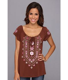 Roper 9040 Poly Rayon Jersey Peasant Top Brown - Zappos.com Free Shipping BOTH Ways