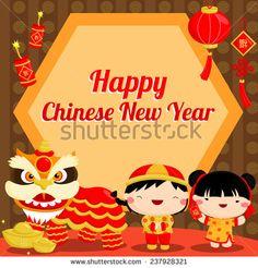 Chinese New Year Card stock vector. Illustration of symbol - 48056945 Chinese New Year 2016, Chinese New Year Poster, China, Birthday Crafts, New Year 2020, Card Stock, Seasons, Cartoon, Illustration