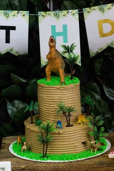 Dinosaur Cake from a Jurassic Dino party by MKKM Designs