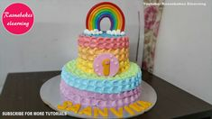 birthday rainbow cake design 1 year easy cool happy birthday cake for kids with name decorating tutorials how to make chocolate colorful rainbow coloring. Simple Birthday Cake Designs, Cake Designs For Kids, Simple Cake Designs, 1st Birthday Cake For Girls, Baby Birthday Cakes, Happy Birthday, Unicorn Birthday, Cake Decorating For Kids, Cake Decorating Classes