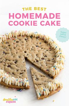 This easy and Chewy Cookie Cake Recipe is the perfect way to celebrate birthdays or other special occasions! It tastes so much better than store-bough. Easy Vanilla Cake Recipe, Easy Cake Recipes, Baking Recipes, Chewy Cake Recipe, Birthday Cake Cookies, Homemade Cookie Cakes, Homemade Birthday Cakes, Birthday Recipes, Giant Cookie Recipes