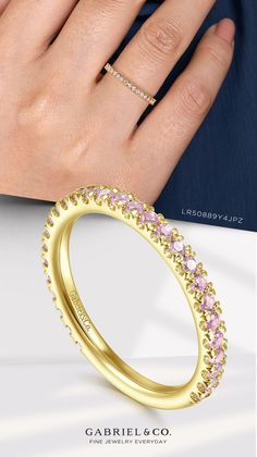 14K Yellow Gold Pink Created Zircon Stackable Ring LR50889Y4JPZ #StackableRings #PinkZirconRing #YellowGoldRing #Rings #FashionRings #FashionJewelry