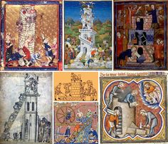 La Torre di Babele in vari codici miniati francesi e inglesi