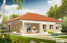 Projekt domu Eris II (wersja C) energo Bungalow Haus Design, Modern Bungalow House, Bungalow House Plans, Modern House Floor Plans, Contemporary House Plans, Small House Design, Modern House Design, Style At Home, Beautiful House Plans