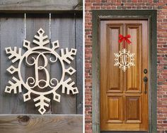 Let it Snow! Celebrate winter with this fun Snowflake Monogram! Monogrammed with the letter of your choice, this door decor will add a personalized touch to your seasonal decor.  Each monogram is made to order from 1/4 birch plywood. It will arrive unfinished and sanded. Your monogram will measure ~15w x ~18h and is light enough to hang with a ribbon or with some command strips  Happy Holidays
