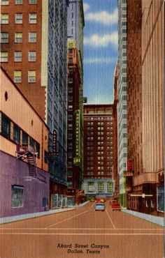Akard Street Canyon Downtown Dallas Texas  Vintage Postcard