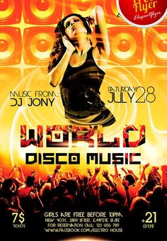 "Free World Disco Music PSD Flyer Template - http://freepsdflyer.com/free-world-disco-music-psd-flyer-template/ Free World Disco Music PSD Flyer Template - You are welcome to download one of our new free event flyer templates ""World Disco Music"" absolutely free right now! It is a multipurpose PSD flyer for different events.  #Club, #Dance, #Disco, #Dj, #Event, #Music, #Nightclub, #Party, #WorldMusic"