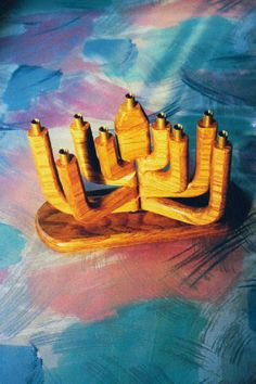 Hand-carved wooden menorah by Jerry Pokras