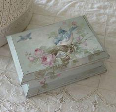 Shabby Vintage Bluebirds and Roses Keepsake Box