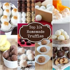 Top 10 Homemade Truffles - chocolate peanut butter truffles + 9 other delicious truffle recipes Diy Truffles, Homemade Truffles, Homemade Candies, Christmas Desserts, Christmas Treats, Christmas Baking, Christmas Candy, Candy Recipes, Holiday Recipes