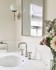 Elegant bathroom design by Brooklyn based including our Athena wall sconces in polished nickel. Bathroom Curtains, Bathroom Mirrors, Modern Bathroom Design, Bathroom Designs, Small Bathroom, Dream Bathrooms, Amazing Bathrooms, Master Bathroom, Walk In Shower