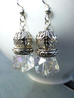 Clear AB Glass Cubes, Silvertone Beads, Nickel Free earwires