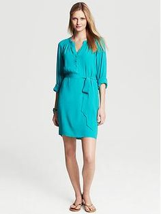 "Turquoise Shirtdress - looks like a flattering dress for many body shapes.  Loved that it is lined for us ""wish my skin was smoother"" girls."