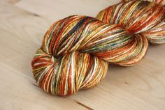 luxury fingering weight merino/silk in the perfect autumn colors, hand dyed by phydeaux designs!  :)