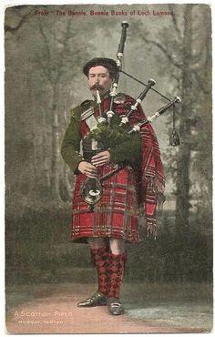 Vintage Postcard ~  'Fron the Bonnie Banks of Loch Lomond' - a Scottish Piper in Murray Tartan