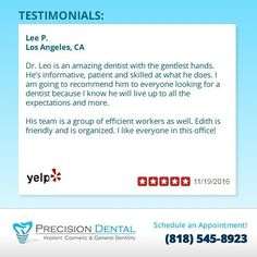 We value our patients' testimonials! Reading comments will always keep us engaged and enthusiastic about dentistry.      #patientreviews #glendaledentist #happypatient #glendaleca #dentist