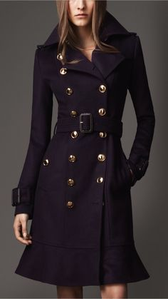 Burberry long frill detail trench coat.