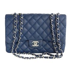Chanel Blue Perforated Flap Bag ❤ liked on Polyvore